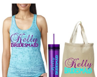 Bridesmaid gift, set of 5,tote,tumbler,tank,personalized bridesmaid gift sets.