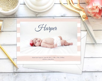 Baby Announcement | Stripes | Modern | Simple | DIY | Printable
