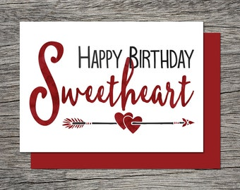 Printable Birthday Card - Happy Birthday Sweetheart - Instant PDF Download - Wife Birthday Card, Girlfriend Birthday Card