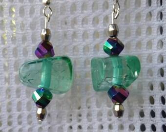 Fun light green wedge earrings