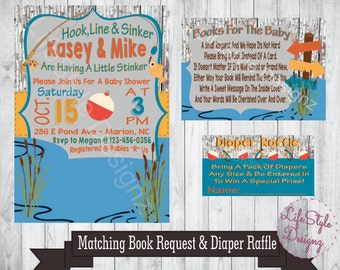 Fishing Baby Shower Invitation   Fish Theme   Its A Boy   Baby Shower  Invitation