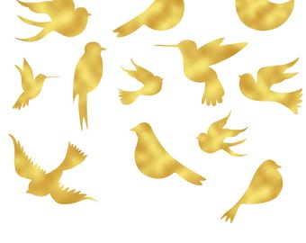 BUY 3 FOR 8 USD, Gold foil birds clip art, decorative, instant download, clipart, gold birds, gold foil cliparts, weeding, instant download