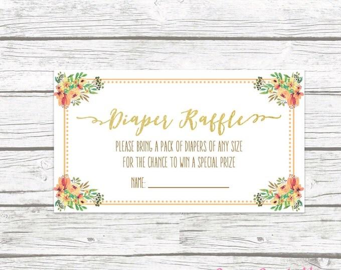 Pumpkin Diaper Raffle Ticket, Fall Diaper Raffle Tickets, Gender Neutral Fall Baby Shower, Diaper Raffle Insert