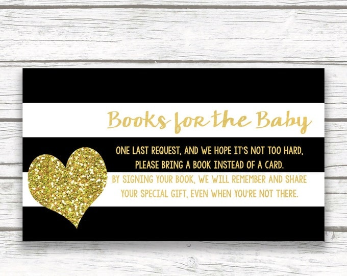 Bring a Book Instead of a Card Baby Shower Invitation Insert, Black White Stripe Striped Gold Glitter Heart, Printable Stock Baby's Library