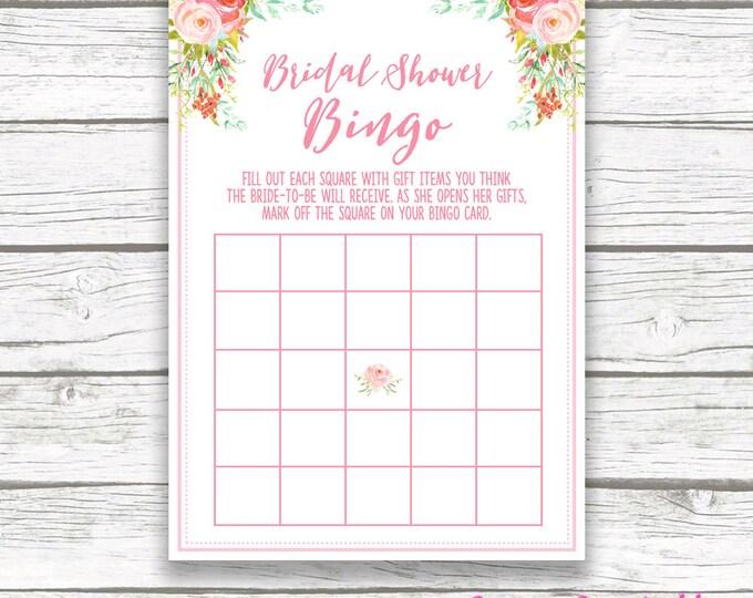 Pink Floral Bridal Shower Bingo Game Printable, Spring Mint Pink Flower Garden, Pink Rose Bridal Bingo, Bridal Shower Games Card