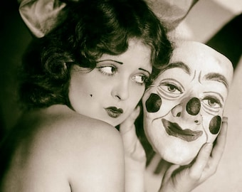 Clara Bow photo vintage clown mask weird strange crazy unusual antique photograph poster 1920s-  PRINT