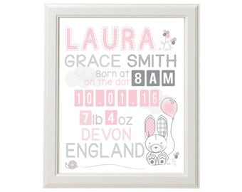"Little Friends Bunny Birth Announcement/Wall Art - DOWNLOADABLE PRINT - 8"" x 10"""