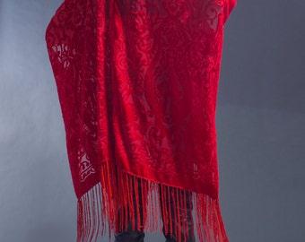Scarlet Velvet Burnout Kimono