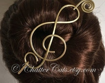 Music Hair Stick Barrette Brass Bun Holder Hair Pick Hair Stick Fine Long Gold Hair Slide Hair Clip Hair Pin Scarf Clip Gift for Women