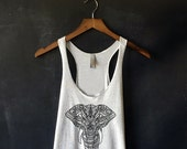 Henna Elephant Tank Top in Heather White - Elephant Print T Shirt - Elephant Shirts for Women - Henna Print