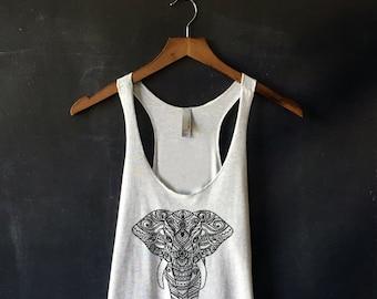 Henna Elephant Tank Top in Heather White - Elephant Print T Shirt - Elephant Shirts for Women - Henna Print