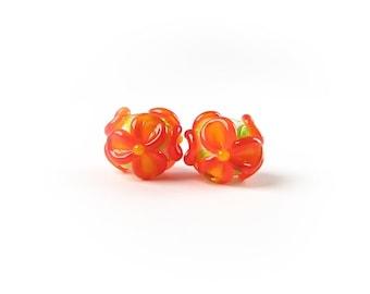 Orange Flowers, Lampwork Beads, Earring Pair, Handmade Glass Beads, Murano Beads, lampwork pair, Lampwork Bead Set, Floral Flower Beads