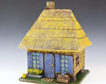 Thatched English Tea House // Ceramic Sculpture // Architectural Sculpture // Tea House // House // Clay House // Cottage // Village House