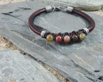 Leather and Jasper Gemstone Bead Bracelet