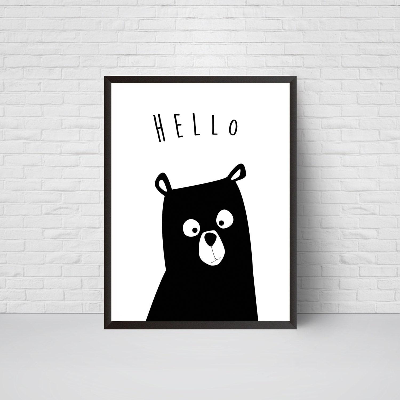 bear nursery print hello bear art black and white modern. Black Bedroom Furniture Sets. Home Design Ideas