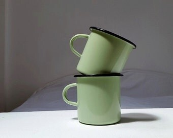 Set of 2 enamel green mint mugs cups / camping / Breakfast / picnic /
