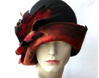 Black Felt Hat, Felted hat, Cloche, 1920's hat Retro hat  felt cloche Flapper  Victorian 1920s Felt hat Hats  Wool Merinowool silk