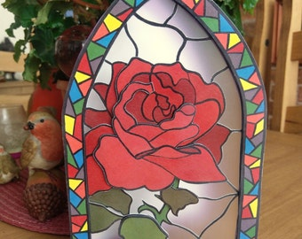 Rose Window Greeting Card (3D Decoupage) Blank