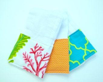 Coral ~ Burp Cloths ~ Set of 3