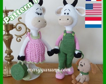 Crochet Pattern, pattern, tutorial, Amigurumi cow family