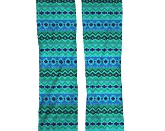 Blue Aztec Socks | Birthday Gift Socks | Striped Socks | Mens Socks | Womens Socks | Kids Socks | Birthday Gift Socks