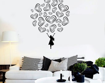 Wall Vinyl Decal Love Bouquet of Hearts and Girl Romantic Symbols Of Love Modern Abstract Home Art Decor (#1253di)
