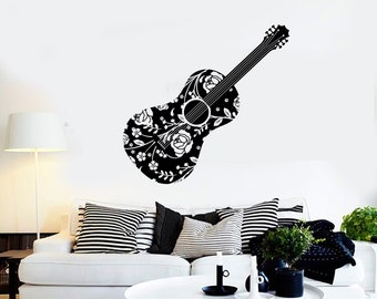 Wall Vinyl Music Guitar Flower Rose Floral Guaranteed Quality Decal Mural Art 1506dz