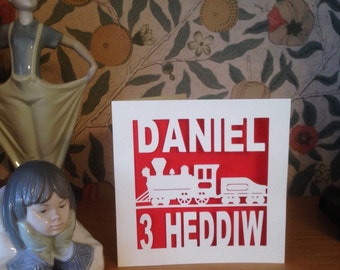 Papercut - Personalised 1, 2, 3, 4, 5, 6, 7, 8, 9, 10 Heddiw  Welsh  Birthday  Card
