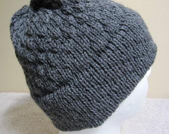 Wool Knit Hat: Dark Grey Mix