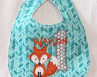 Child's First Birthday Bib  - With cute fox and 1.  Includes personalization.