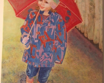 The girl with the red umbrella - Original Print