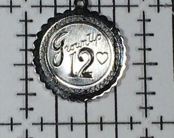 Sterling Silver 925 Vintage Bracelet Charm Grown Up 12 12th Birthday 2g 5784