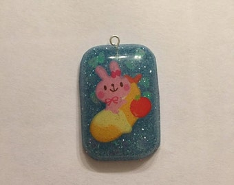 Kawaii Cute Resin  Bunny Necklace or Charm