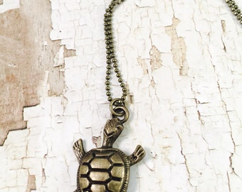 Turtle necklace, Bronze turtle necklace, sea turtle necklace, For her, charm necklace, Trendy Jewelry