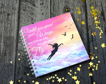 Let go and fly, Inspirational Note Pad, blank inside, UK Seller.