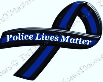 TNT122 Police Lives Matter / Thin Blue Line Ribbon Vinyl Decal/Bumper Sticker or Car Magnet