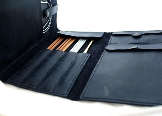 Knitting Needle Case Leather : Leather needle case handmade knitting organizer