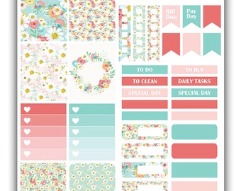 Daisies weekly stickers kit | Themed weekly kit | Erin Condren vertical theme weekly kit | Weekly planner stickers