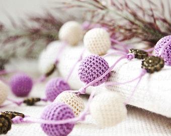 Flower necklace Lilac flower Crochet necklace Light purple Spring flowers Crochet jewelry Flower jewelry Purple necklace Ivory jewelry