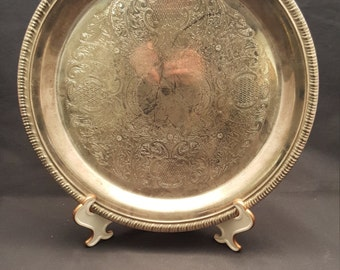 Vintage International Silver Company Silver Plate Serving Platter Waiter's Tray Etched Designs