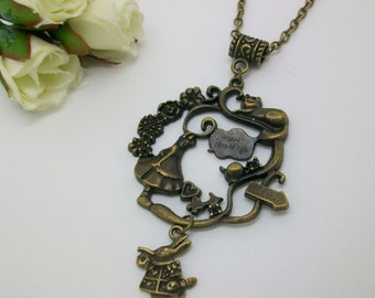 Alice and Friends - Alice in Wonderland inspired necklace, Antique gold coloured