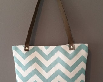 Canvas Shoulder Bag, Small to Medium Tote, Bucket Bag, Day Bag, Beach Bag, Resort Tote, Aqua and Natural Bag, Nautical Inspired