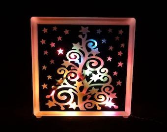 Holiday Christmas Tree Glass Block Light - Multi-Colored Lights