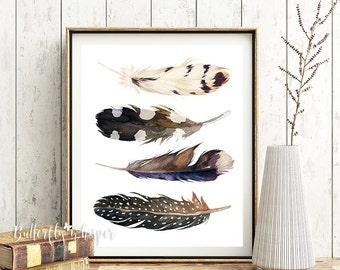 Boho printable, Feathers printable, Bohemian wall art, Boho decor, Boho print, tribal art, Tribal digital printable, Printable wall art