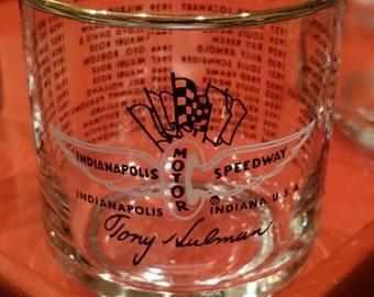 Set of 5 Indianapolis Motor Speedway Tony Hulman/Commemorative Highball Glasses/ 1911-1968 Indy Winners/ Racing Enthusiast / Barware