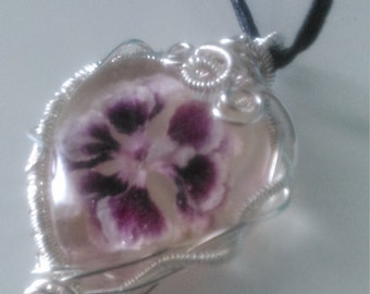 Wire Wrapped Purple Flower Heart Pendant