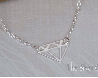 Origami Diamond Necklace, Silver Charm, Diamond Jewellery, Valentines Gift, Silver Diamond Necklace, Diamond Shape Charm, Silver Necklace