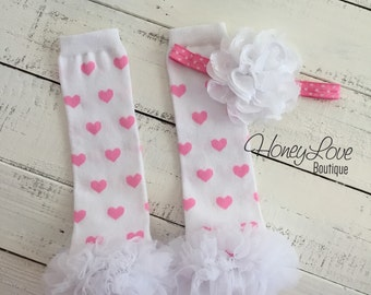 White Light Pink Heart Valentine's Day ruffle bottom leg warmers, chiffon lace flower headband hair bow, infant baby toddler little girl
