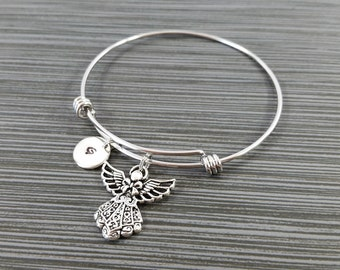 Angel Bangle - Guardian Angel Bracelet - Expandable Bangle - Angel Charm Bangle - Initial Bracelet - Mom Gift - Mother Bracelet
