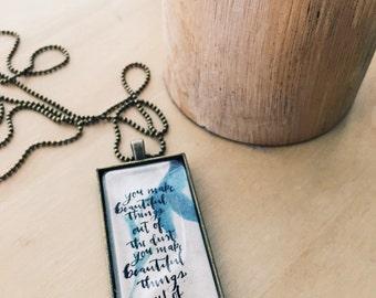 "Beautiful Things Necklace- Rectangular Pendant Words Necklace, ""You make beautiful things..."" Hey Hello Design"